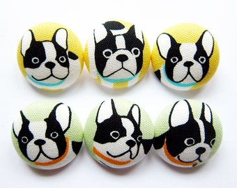 Sewing Buttons / Fabric Buttons - 6 Large Fabric Buttons Set - Hello Frenchies in Yellow and Green