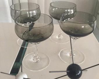 Gorgeous Vintage Mid Century Sasaski Crystal Champagne Glasses