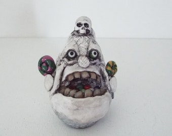 Halloween Ghost Candy Thief Polymer Clay Sculpture OOAK