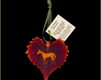 Real Cottonwood Leaf Dipped In Iridescent Copper With Horse Silhouette - Ribbon & Hang Tag - Real Dipped Leaves