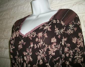 Brown J. Jill floral Dress  w flounce