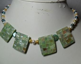Mosaic Mother of Pearl  Lg Rectangular Bead and Pearl Necklace (06/26/2016) JR