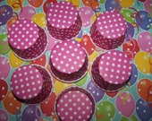 Treat/Portion Cups, Hot Pink/white Polka Dot, Party Cups, Cupcake Baking 24 Polka Dots Treat Cups