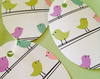 Gift/Price Tags So Sweet Oval With Adorable Birds-50 Pre-strung Cardstock Tags- Blank Back side For Messaging or Pricing