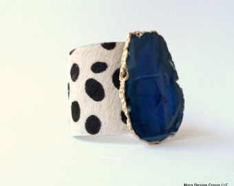 "leather cuff bracelet  -blond spotted cheetah print hair on hide with gilded agate slice- 2"" wide"