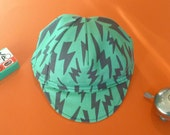 Toddler/Kid Cycling Cap- Green and Yellow lightning