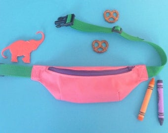 Coral Kids Fanny Pack, with Purple and Green Accents- READY TO SHIP