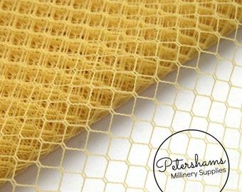 Vintage English 1960's / 1970's Birdcage Veil Millinery Fabric, 1 yard - Light Honey