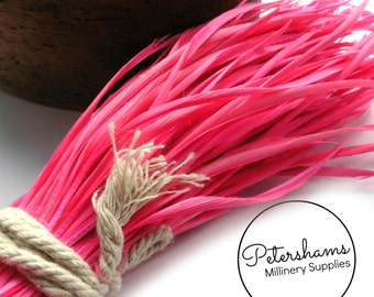 Full Bundle of Goose Biot Feathers for Millinery (around 250 feathers) - Bright Pink