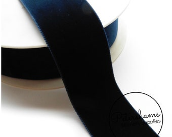 36mm Wide Velvet Ribbon for Millinery, Hat Trimming & Crafts 1 yard - Navy Blue
