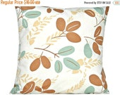 Christmas in July Sale Sale 16.00 Aqua Leaves Pillow Covers Cushion Modern Mocha Beige Decorative Pair 16x16