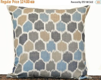 Christmas in July Sale Ikat Pillow Cover Cushion Teal Taupe Tan Denim Blue Beige Mosaic Rustic Decorative Repurposed 18x18