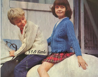 Child's Cabled cardigans knitting pattern. Instant PDF download!