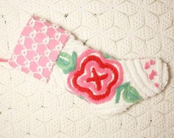 Sweet Pink and Red Plush Vintage Chenille Christmas Stocking