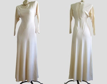 Vintage 1930s IVORY Rayon Crepe Bias Cut Wedding Dress Gown 30s Embroidered Sleeves