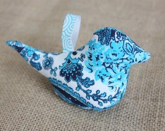 Teal & Navy Blue Paisley Fabric Leigh Bird Ornament | Fabric Bird Christmas Ornament