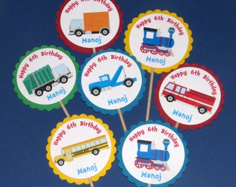Transportation Birthday Cupcake Toppers - School Bus, Train, Fire Truck, Garbage Truck, Tow Truck