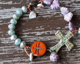 Cross Bracelet - Boho Dragonfly Bracelet - Rustic Relic - Knotted Bracelet - Bead Soup Jewelry - Purple and Mint