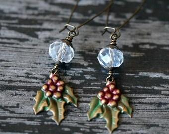 Mistletoe Earrings - Forest Earrings - Christmas Earrings - Crystal Earrings - Long Dangle Earrings - Bead Soup Jewelry