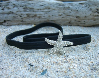 Black Starfish Headband-SPARKLE-Beach Weddings, Stocking Stuffer, Mermaid Birthday, Destination Wedding, Gifts under 15, Ocean, Seashore