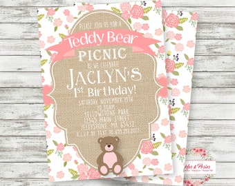 Teddy Bear Picnic Invitation -  Teddy Bear Birthday Supplies - PRINTABLE Invitation - Teddy Bear Party Supplies - Digital Files