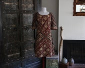 vintage India cotton block print batik dress