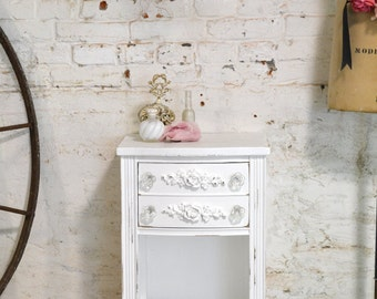 Painted Cottage Chic Shabby Romantic French Night Table NT824