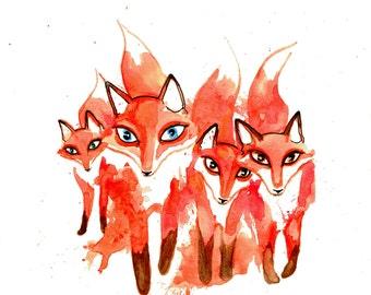 minimalist watercolor print: Fox Fource