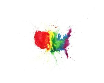 minimalist watercolor print: Love Wins