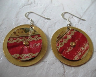 Recycled Metal Tin and Brass Earrings