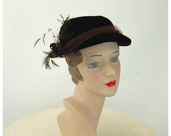 1940s velvet hat brown velvet hat with netting and feathers winter dress hat