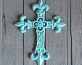 Rustic Aqua Cross, Cast Iron Cross, Paperweight, Cross Decor, Shabby and Chic, Cottage Chic, Ornate Cross, Religious Symbol, Baptism Gift