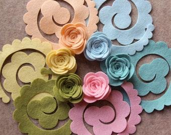 Wool Dream - Large 3D Rolled Roses - 12 Die Cut Felt Flowers - Unassembled Rosettes