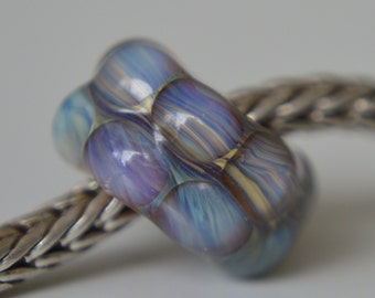 Silver Core Options - Small Handmade Lampwork Glass European Charm Bead with Silver Glass - Fits all charm bracelets