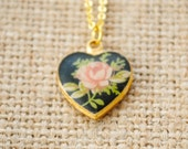 Vintage Pink Rose Enamel Heart Necklace - Limoge Heart Necklace - Valentine's Day, Shabby Chic