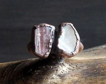 Tourmaline Rough Stone Jewelry Dual Stone Size 7.5 Ring Raw Quartz Crystal Gemstone Copper Ring
