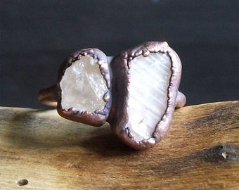Tourmaline Morganite Natural Crystal Dual Stone Copper Ring Size 8 Raw Gemstone Birthstone Ring