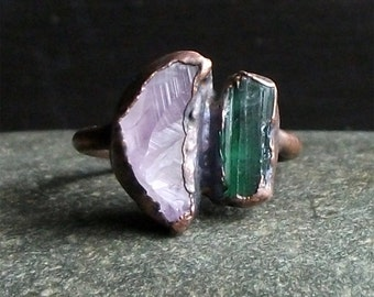 Tourmaline Ring Amethyst Raw Crystal Ring Size 8 Midwest Alchemy Dual Stone Gemstone Copper Jewelry Natural Birthstone Ring