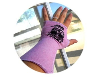 Sugar Skull Arm Warmers, Hand Sewn Screen Printed Fingerless Gloves, Light Pink Long Glove, Day of the Dead, Folk Art Inspired, accesories