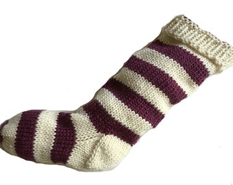 Hand Knit Christmas Stocking Hand Knit Natural White and Plum Purple Striped Santa Sock