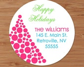 Dotted Christmas Tree Custom Personalized Address Labels or Stickers