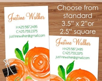 Orange Peonies - 50 Custom Business or Calling Cards