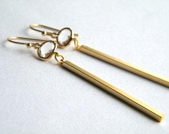 Bar Earrings, Crystal Earrings, Gold Earrings, Drop Earrings, Pendant Earrings, Modern Earrings