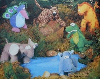 Bean Bag Animals Dolls Sewing Pattern Uncut Butterick 5663 hippo alligator monkey peacock giraffe leopard elephant giraffe