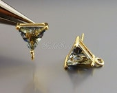 2 high quality earring components, charcoal gray grey triangle post earrings 5138G-GR