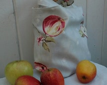 Small Tote bag,gift bag,Apple print bag,childs tote bag,fabric bag,reusable tote,present bag