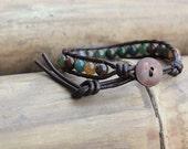 Fancy Jasper Leather Bracelet,6mm, coconut button, unisex bracelet