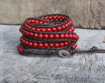 Red Coral 5 Wrap Leather Bracelet, 6mm, Shell button