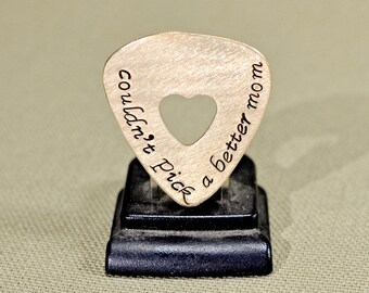 Couldn't pick a better mom bronze guitar pick with a heart cut out for a rocking mom - GP471