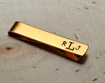 Bronze tie bar in wide style with personalized monogram - TB008